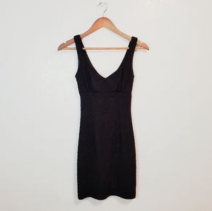 F21 black textured mini bodycon dress